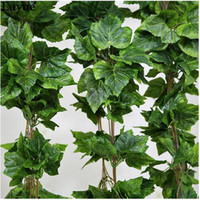 Wholesale Indoor Green Wall - 30PCS like real artificial Silk grape leaf garland faux vine Ivy Indoor  outdoor home decor wedding flower green christmas gift