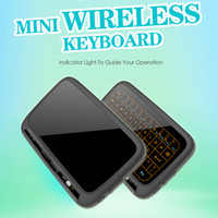 Wholesale Red Mini Mouse - H18+ Mini Wireless Keyboard Air Mouse 2.4G Backlit With Backlight Red Green Blue Remote Controlers For S912 S905W X96 mini MXQ Pro
