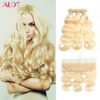 Peruvian Blonde Bundles Color # 613 Body Wave pelo humano Weave Ear to Ear 13 * 4 Blonde Lace closure con paquetes con Baby Hair