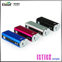 cigarros mods vv vw venda por atacado-Eleaf iStick 20 W 2200 mah 510 eGo Bateria Simples Pacote VV VW Box Mod Bateria Estilo DNA Com Tela OLED Para Cigarros e