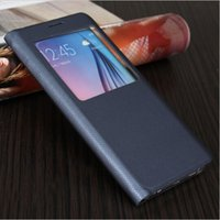 Wholesale Window Boxes Black - View Smart Window Flip Leather Case Cover Dormancy Function For Samsung Galaxy S6 Edge Plus with retail box