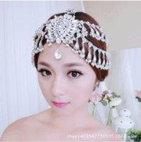Wholesale Crystal Hairpieces - Shining 2014 Sliver Wedding Head Pieces Tiaras Crystal Beaded Rhinestone Crown Hairpiece Head Bridal Wedding Accessories