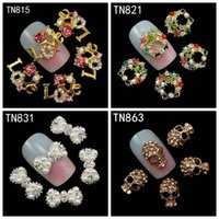 Wholesale 3d Letter Nail - Wholesale- 10Pcs Pack Rhinestones Nails Studs With Pearl (Letters Love,Garland ,Bow ,Skull) 3D Nail Art Decorations Glitters Nail Tools