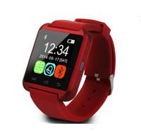 windows phone de android al por mayor-10pcs reloj inteligente Bluetooth U8 relojes sin altímetro reloj de pulsera inteligente para iPhone Samsung HTC Sony teléfonos celulares al por mayor de DHL gratis