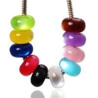 Wholesale European Cat Eye Beads - Jewelry 100ps Fashion Cat-eye Styles Resin Big Hole Beads Fit Charm Woman European Bracelet 5.5*14mm Hole: 5.5mm