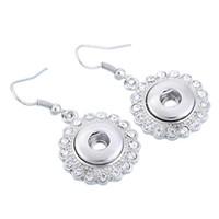 Wholesale Diy Earrings Diamond - Noosa Chunk Button studs Snap Rhinestone Flower Water-drop Alloy Earrings Women DIY Jewelry Button Dangles free ship
