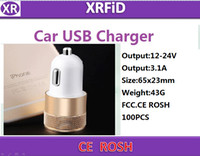 Wholesale Iphone4 Flat - Small steel artillery charge Dual USB Car Charger 5V 2.1A aluminum flat mobile phone car charger for iphone4 4s 3-Port Car Charger Adaptor
