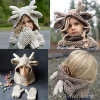 Wholesale Crochet Gloves For Boys - Baby Winter Christmas Elk Hat Scarf+Gloves 2pcs Kids Cartoon Deer Knitted Warmer Gloves For 2-9T Kids