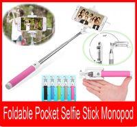 mini cámara de mano al por mayor-Palillo plegable Selfie Stick Monopod Mini portátil Extensible Cámara portátil Monopod de mano Stick con conexión de cable Selfie con botón de obturador remoto