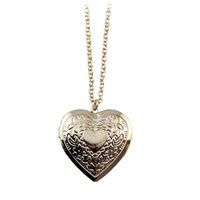 Wholesale Vintage Rhinestone Costume Jewelry - Gold Alloy Vintage Engraved Flower Openable Heart Charm Long Chain Pendant Necklace for Women Wholesale Costume Jewelry Bijoux Accessories