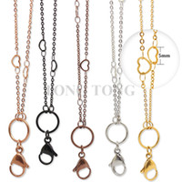 Wholesale Custom Necklace Wholesale - Newest style! 32''(80cm) silver gold rose black chocolate 316L stainless steel Pendant Necklace Heart Station Custom Link Chain
