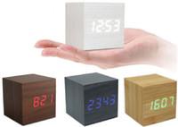 alarme de data venda por atacado-Estilo de madeira Relógio De Madeira Relógios Cube LED Controle De Alarme Digital Relógio de Mesa Estilo De Madeira Estilo de Tempo Data Função de Alarme da Temperatura de Decoração Para Casa