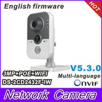 kamera ds toptan satış-2015 DS-2CD2432F-IW 3MP w / POE IP ağ kamera Dahili mikrofon DWDR 3D DNR BLC Wi-Fi DS-2CD2432F-I (w)