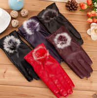 Wholesale Wholesale Red Winter Gloves - Fashion Beautiful Fur Ball Leather Gloves for Winter Gloves Brand Mitten luvas Women Gloves Riding gloves Motorcycle Leather Gloves 5 Colour