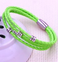 Wholesale Leather Braided Bracelet Copper Clasp - 57 colors New Shamballa Infinity Layer Braided Leather Beaded Bracelets Magnetic Clasp Handcraft Bangles Jewelry Hot