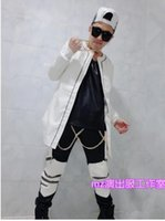 Wholesale White Leather Costume - Male singer han edition fashion club in Europe and the runway looks white long leather trench coat costumes coat. S - 6 xl