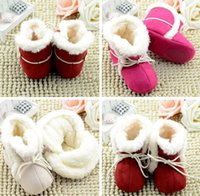 Wholesale Toddlers Ankle Boots - 3COLOR Winter waist cotton leisure soft bottom baby warm boots 0-1 years old, newborn children slip bottom toddler boots 6pair 12pcs