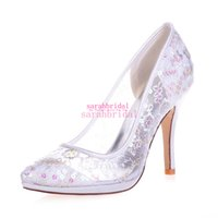 Wholesale Shoes For Gold Sequin Dress - White Beautiful Wedding Bridal Shoes For Bridesmaids 2016 Lace Stiletto Pointed Toe High Heeled Cheap Ladies New Evening Party Dress Pumps