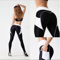 Wholesale High Waist Legging Black - Women Geometric Splicing Peach Hip Sports Yoga Pants Tight Legging Sport Femme Fitness High Waist Gym Woman