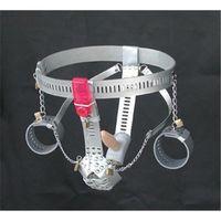 Wholesale Couple Vibrators Sex Toys - Handcuff Bondage Locking Adjustable Chastity Belt With Remote Control Vibrator Anal Toys Tight Penis Sex Toys for Couple Sex Game FJ262201