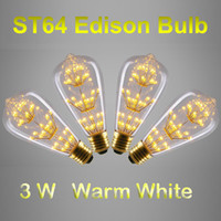 Wholesale Glass Globe Bulb Pendant - Antique Style ST64 Edison Bulbs E27 B22 Warm White 3W Decorative Clear Glass Globe Light Retro Squirrel Cage Pendant Lamp Bulb