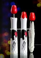 dibujo de paraguas al por mayor-Original Rose Bottle Umbrella Drawing Japanese Geisha Girl Design Parasol plegable portátil a prueba de lluvia con caja de plástico blanca