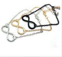 unendlichkeit kreuz schwarz großhandel-3 Farbe pulseras mujer Neue Mode Beliebte Gold / Silber / Schwarz Kreuz Infinity Kette Armbänder Armreifen Schmuck Für Frauen