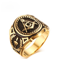 18k gold gefüllte männer großhandel-Großhandelsart- und weiseafrikanisches Schmucksache-hohes Poliercasting-Edelstahl-Ringe IP-Gold füllten freies Maurer-Mens-Goldringe US-Größe 8 -11