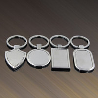 Wholesale Wedding Party Favor Keychains - 4 Designs Newest Metal Blank Keychains Advertising Custom LOGO Keyrings for Promotional Party Gifts Favor ZA5175