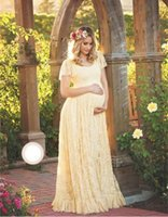Wholesale Casual Pregnancy Dresses - Maternity Dress Maternity Photography Props White Lace Sexy Maxi Dress Elegant Pregnancy Photo Shoot Women Maternity Lace Dress