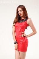 Wholesale Black Women Leather Dresses - 151204 2015 Women Sexy Black Red 2 Colors Ladies Girls Cheap Faux Leather Bodycon Fringe Plus Size Club Dresses XXL