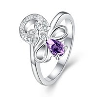 New arrival Gorgeous European 925 Sterling Silver Jewelry Natural Amethyst Rings com Áustria Crystal Stones Flower Design Anéis para as mulheres