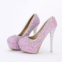 Wholesale puple prom dresses for sale - Group buy 2019 New Handmade Fashion Purple Pearl Wedding Shoes Luxury Rhinestone Stiletto Heel Bridal Dress Shoes Evening Party Prom Pumps