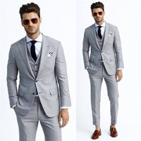 Wholesale Suiting Coats For Men White - Silver Handsome Tuxedos Three Pockets Blazers Men Three Pieces Coat Vest Pants Fashion Men Slim Suits Suitable For Various Events