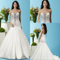 Wholesale Top Quality Satin Mermaid - Top Quality Mermaid Wedding Dress Sweetheart Ivory satin Lace Beaded vestidos de noiva Hot Sale Wedding Bridal Gowns With Sleeveless