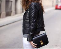 Wholesale 24 Compartment - W315 many colors genuine leather box shoulder bag 24*19*7cm