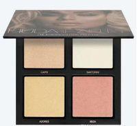 Wholesale Eyeshadow Palette 3d - 2017 Eyeshadow Makeup Palette HUDA 3D HIGHLIGHTER Cosmetic 4 Colors 2 Style Face Makeup Powder Mattes Highlighter Eyeshadow gold pink sands