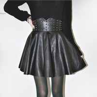 Pelle delle donne Rivet PU vita alta marca di modo punk di vendita Hot Spring New Winter Sale Dress gonne corte 38