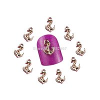 Wholesale Black Glitter Nail Tip - LUFY 10pcs 3D Crystal Alloy Metal Nail Art Tips Glitters Decoration Anchor Style Golden