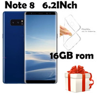 Wholesale Camera Gift Card - Gift 6.2HD Note8 Phone 1GB Ram 16GB Rom Smart Phone MTK6580A Quad Core Mobile Phone 1280*720 8MP Rear Camera Sealed Box show 4G 64G 4G LTE