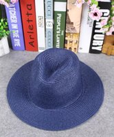 Wholesale Simple Straw Hats - 2016 Straw hat Beach shading adult kids hats wholesale Fashion Stingy Brim hats Simple solid color hats Parent-child models