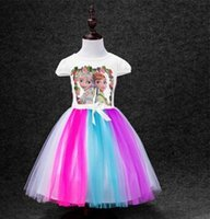 Wholesale Dressess For Party - Girls Summer Dress Elsa Ana Frozen Dress Princess New 2016Cartoon Print Baby Girls colorfull Dressess For 3-7 Years Party Baby & Kids