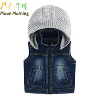 Wholesale Thick Brand Jeans Boys - Wholesale-(boys high quality)spring autumn,vest,brand girls Boys Hooded thick animal tigher jeans cotton,blue,casual
