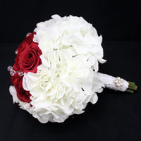 Wholesale Satin Kissing Balls - Wedding Rose Balls Rose Hanging Ball Silk Flower Kissing ball Christmas Wedding Bouquet Flowers Wrist Corsage rose ball