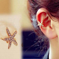 Wholesale Clip Earrings Wholesale Fashion - Sweet Girl No Pierced Single Ear Clip Rhinestone Starfish Cuff Earring Fashion