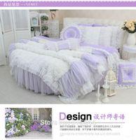 Wholesale Luxury Velvet Bedding - Purple Dream classic Round bed 4pcs lace weddingbedding kit velvet coral fleece duvetcover crystal luxury white rose girls wedding Round bed