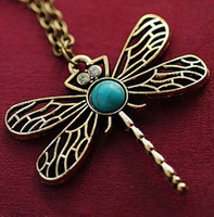 Wholesale vintage sweaters for women - Wholesale-x5 2015 New Vintage Jewelry Retro Hollow Dragonfly Korean Long Paragraph Sweater Chain Pendant Necklace For Women