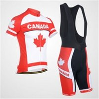 Wholesale clothing canada resale online - 100 Polyester Canada team Summmer Cycling Clothing Quick Dry Racing Bike Cycling Jerseys Clothes Wear Ropa Ciclismo