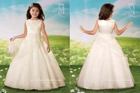 Wholesale Ivory Applique Ruffle - Ivory Flower Girl Dresses for Wedding Ball Gown Bateau Neck Applique Ruffles Floor Length Custom Made Cheap 2016 Little Baby Communion Gowns