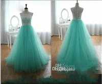 Wholesale Mint Green Feathers - 2016 Cheap Prom Dresses With Lace Crew A Line Back Covered Button Mint Green Evening Gowns Cheap Long Dresses Party Evening Summer